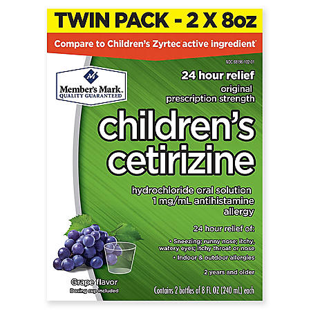 Member's Mark Children's Cetirizine Allergy Relief Oral Solution, Sugar-Free Grape Flavor