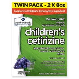 Member's Mark Children's Cetirizine Allergy Relief Oral Solution, Sugar-Free Grape Flavor