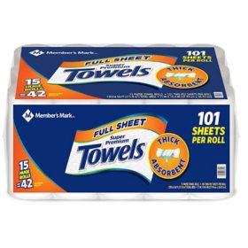 Member's Mark Premium Paper Towel, Huge Rolls (15 Rolls, 101 Sheets)