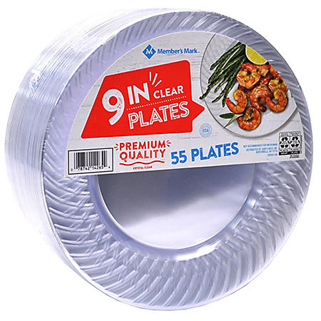 """Member's Mark Clear Plastic Plates, 9"""" (55 ct.)"""