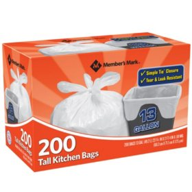 Member's Mark 13-Gallon Simple Tie Kitchen Bags, 200 ct.