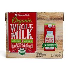 Member's Mark Organic Whole Milk (1/2 gal., 3 ct.)