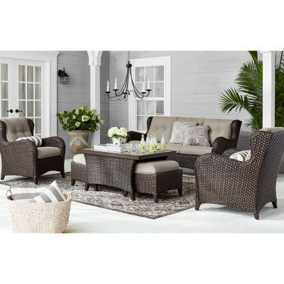 8 piece teak sectional sofa set various colors sam s club rh m samsclub com