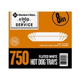 "Member's Mark 8"" White Fluted Hot Dog Tray (750 ct.)"
