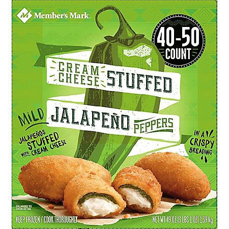 Member's Mark Breaded Cream Cheese Stuffed Jalapeño Peppers, Frozen (40-50 ct.)