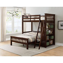Member's Mark Gabriel Twin-Over-Full Loft Bunk Bed with Bookshelf