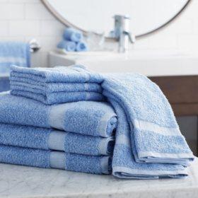 Member's Mark Commercial Hospitality Bath Towels, Blue, Set of 6