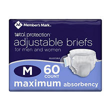 Member's Mark Total Protection Adult Briefs for Men & Women, Medium (60 ct.)