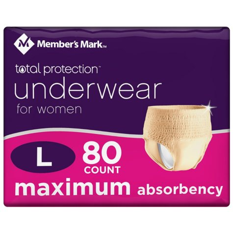 Member's Mark Total Protection Underwear for Women, Large (80 ct.)