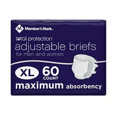 Member's Mark Total Protection Unisex Briefs, Extra Large (60 ct.)