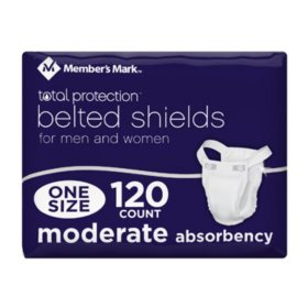 Member's Mark Total Protection Belted Shields for Men or Women (120 ct.)