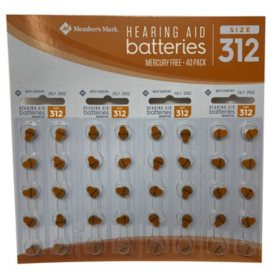 Members Mark Hearing Aid Batteries, Size 312 (40 ct.)