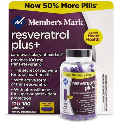 Member S Mark 100mg Resveratrol Plus Dietary Supplement 180 Ct Sam S Club