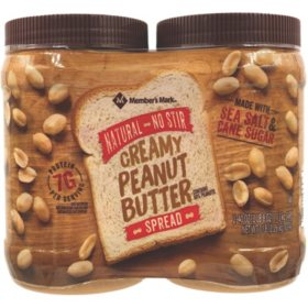 Member's Mark Natural No Stir Creamy Peanut Butter Spread  (40 oz., 2 ct.)