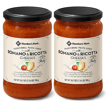 Member's Mark Traditional Pasta Sauce with Romano and Ricotta Cheeses(24 oz., 2 pk.)