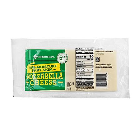 Member's Mark Mozzarella Cheese, Part-Skim Low-Moisture (5 lb. block)