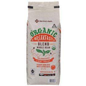 Member's Mark Organic Breakfast Blend Whole Bean Coffee (40 oz.)