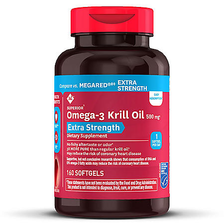 Member's Mark Extra-Strength Antarctic Pure Omega-3 Krill Oil, 500 mg (160 ct.)