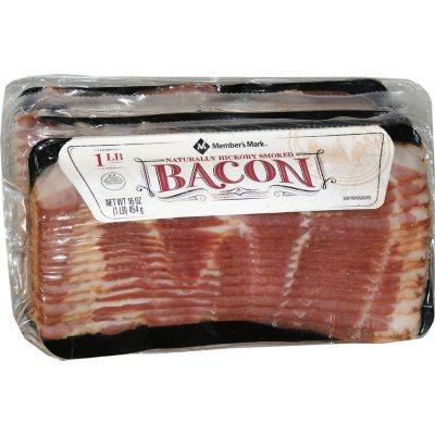 Memberu0027s Mark Naturally Hickory Smoked Bacon (4 Pk., 1 Lb.)