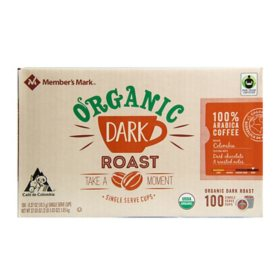 Member's Mark Organic Dark Roast Coffee, Single-Serve Cups (100 ct.)