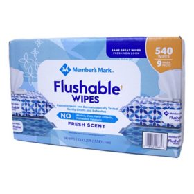 Member's Mark Flushable Wipes (540 wipes total, 9 pk.)