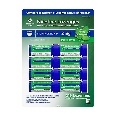 Member's Mark Nicotine Lozenge 2mg, Mint Flavor (27 ct., 8pk.)