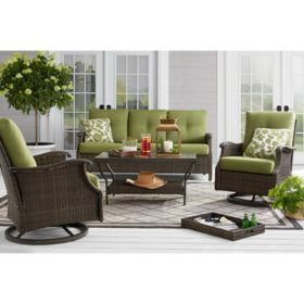 Member's Mark Agio Stockton 4-Piece Patio Deep Seating Set with Sunbrella Fabric - Green