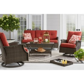 Member's Mark Agio Stockton 4-Piece Patio Deep Seating Set with Sunbrella Fabric - Henna