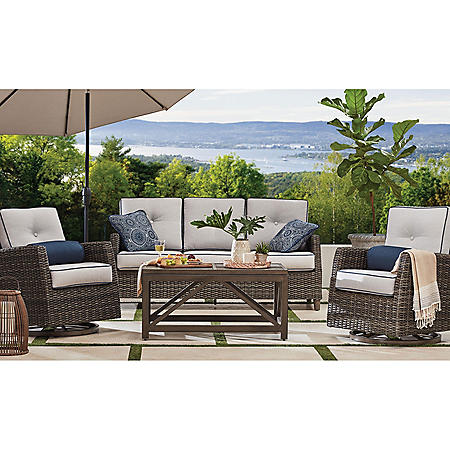 Memberu0027s Mark Agio Fremont 4-Piece Patio Deep Seating Set with Sunbrella Fabric - Silver  sc 1 st  Samu0027s Club & Memberu0027s Mark Agio Fremont 4-Piece Patio Deep Seating Set with ...