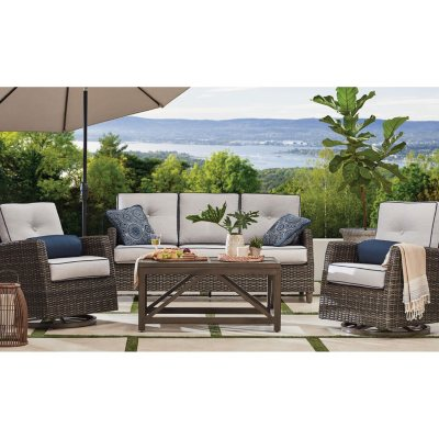 Outdoor furniture set Black Members Mark Agio Fremont 4piece Patio Deep Seating Set With Sunbrella Fabric Silver Sams Club Outdoor Furniture Sets For The Patio Sams Club