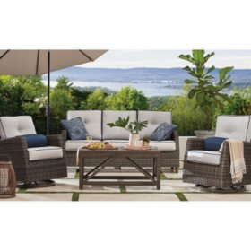 Member's Mark Agio Fremont 4-Piece Patio  Deep Seating Set with Sunbrella® Fabric - Silver