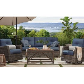 Members Mark Agio Fremont 4-Piece Patio Deep Seating Set with Sunbrella Fabric -  Indigo
