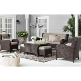 Member's Mark Agio Heritage 6-Piece Deep Seating Patio Set with Sunbrella® Fabric - Shale
