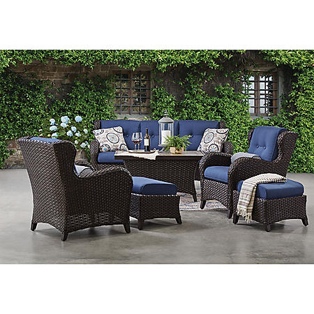 Member's Mark Agio Heritage 6-Piece Deep Seating Patio Set with Sunbrella® Fabric - Indigo