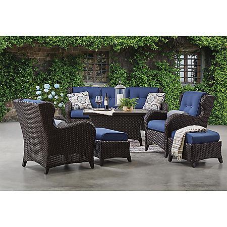 Awesome Members Mark Agio Heritage 6 Piece Deep Seating Patio Set With Sunbrella Fabric Indigo Home Interior And Landscaping Ologienasavecom