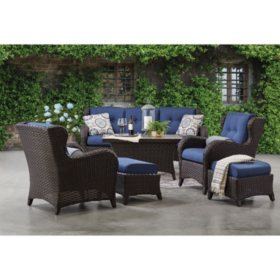 Member's Mark Agio Heritage 6-Piece Deep Seating Patio Set with Sunbrella Fabric - Indigo