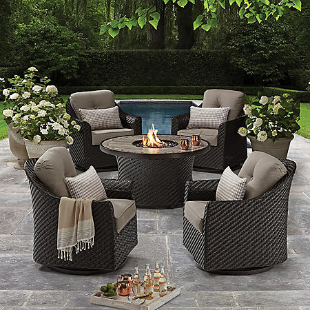 Memberu0027s Mark Agio Heritage 5 Piece Outdoor Fire Pit Chat Set With  Sunbrella® Fabric