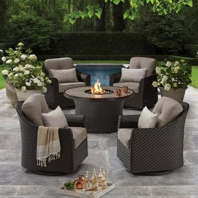 Agio Heritage 5-Piece Outdoor Fire Pit Chat Set with Sunbrella Fabric