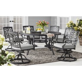 Member's Mark Agio Hastings 8-Piece Round Patio Dining Set with Sunbrella Fabric