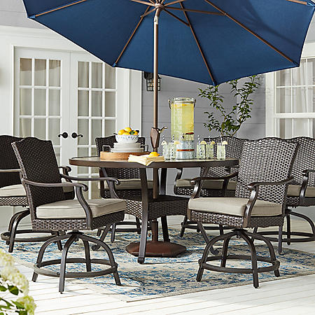 Member S Mark Agio Heritage 7 Piece Balcony Height Patio Dining Set