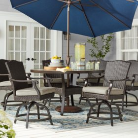 Member's Mark Agio Heritage 7-Piece Balcony Height Patio Dining Set with Sunbrella Fabric