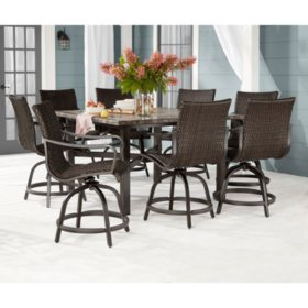 Member's Mark Agio Toronto 9-Piece Patio Balcony Height Dining Set