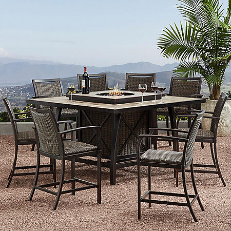 Member S Mark Agio Denver 9 Piece Balcony Height Fire Pit Dining Set Sam S Club