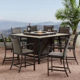 Member's Mark Agio Denver 9-Piece Balcony-Height Fire Pit Dining Set