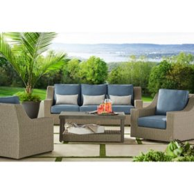 Marvelous Members Mark Nantucket 4 Piece Deep Seating Set Sams Club Short Links Chair Design For Home Short Linksinfo