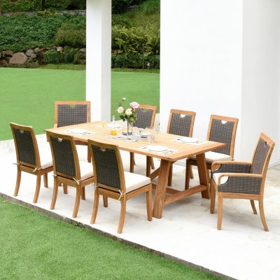 Member S Mark Sunbrella 9 Piece Teak Dining Set Sam S Club