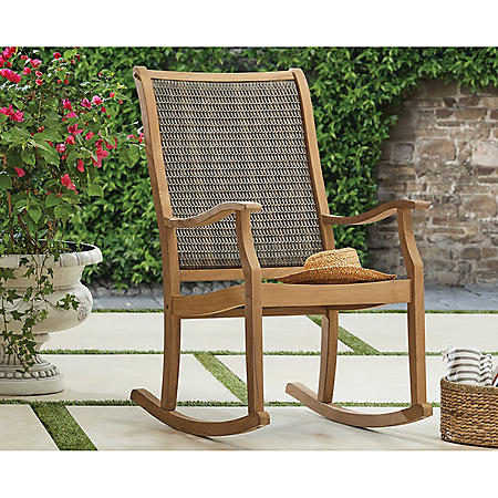 Member's Mark Teak & Wicker Rocking Chair