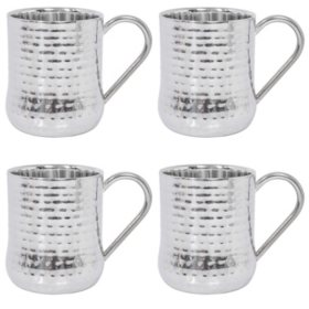 Member's Mark Double-Wall Hammered Mugs Set, 4 Pack (Assorted Colors)