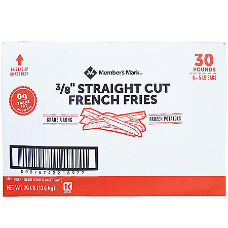 """Member's Mark 3/8"""" Straight Cut French Fries, Frozen (30 lbs.)"""