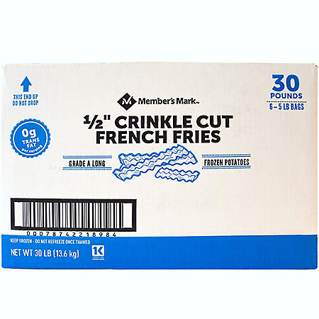 "Member's Mark 1/2"" Crinkle Cut French Fries, Frozen (30 lbs.)"